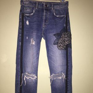 ZARA ripped high waist jeans with floral design